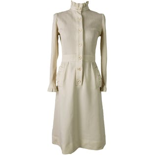Cream Ribbed Button Up Dress with Ruffle Pockets by Leslie Fay