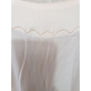 60's Cream Off White Slip Dress with Scalloped Embroidery