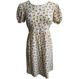 Cream Flower Print Dress