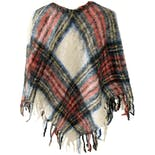 another view of Cream Blue Red Green Plaid Poncho