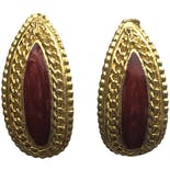 Curved Red and Gold Chain Earrings