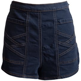 Dark Denim Shorts with Stitch Detailing by Free People