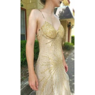 Y2k Shimmery Gold & Sequin Gown by Diane Freis