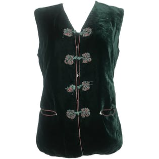 60's Custom Made Deep Green Soft Velvet Buttoned Vest by Lee IO Lin