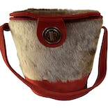 Deer Fur Bucket Bag with Turnlock Closure
