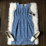 another view of 00's Denim Dress with Embroidered Flowers by Vision Apparel Petite