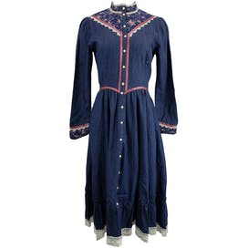 Denim Mini Dress with Lace and Floral Detailingby Gunne Sax