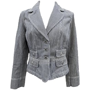 90's Denim Striped Fitted Pocket Jacket by Ann Taylor Loft