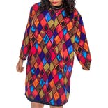 90's Multicolor Diamond Print Button Up Tunic