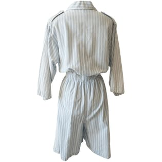 Blue and White Striped Romper by Dreams