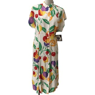 Midi Button Up Dress with Fruit Designs Throughout by Debora Kuchme