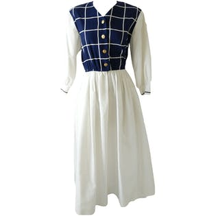 Ankle High Dress with White Skirt and Sleeves and Blue Checkered Top by Petrina
