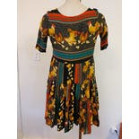 another view of 90's Rayon Dress with Rooster Novelty Print