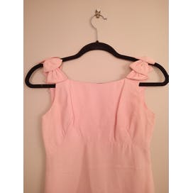 60's Baby Pink Bow Shoulder Dress