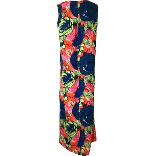 70's Handmade Vibrant Multicolor Abstract Floral Sleeveless Maxi Dress