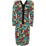 Multicolor Ruched Floral Long Sleeve Buttoned Maxi Dress by Chetta B
