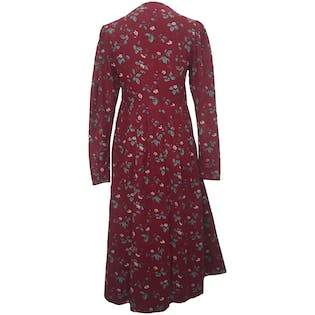 Red, Blue, and White Floral Corduroy Long Sleeve Pleated Fit and Flare Midi Dress by Laura Ashley