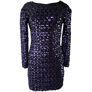 80's Black Purple Silk Sequin Long Sleeve Back V-Neckline Cocktail Evening Dress by A La Carte