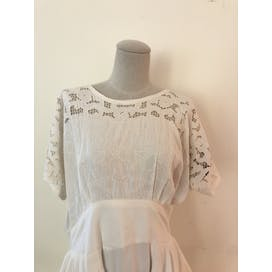 White Lace Maxi Dress With Layered Fabric On Waist By Susan Macy Thrilling