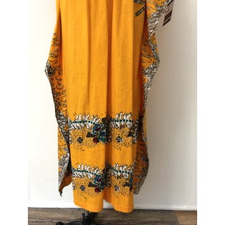 Orange Kaftan with Abstract Design