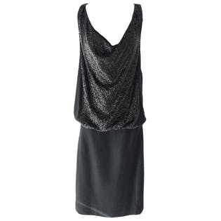 Black Dress with Fleece Bottom and Sequin Top by Tory Burch