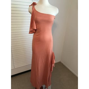 70's Young Edwardian One Shoulder Maxi Dress by Arpeja by Young Edwardian By Arpeja