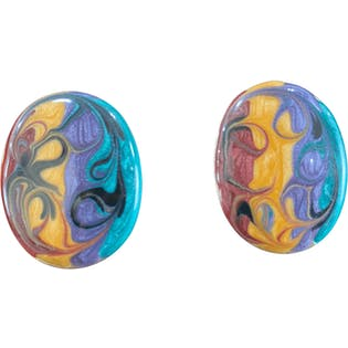 Large Colorful Marble Swirled Earrings