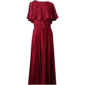 70's Elegant Red Ruffled Pleated Maxi by Elegant Miss of California