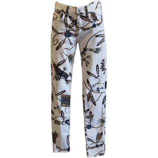 Feather Printed White Jeans by Ralph Lauren