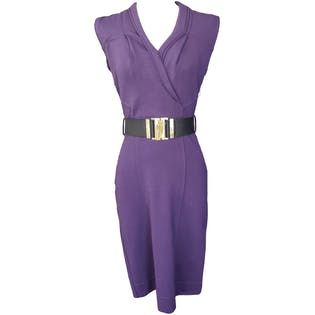Fitted Purple Dress with Black Belt by Gucci