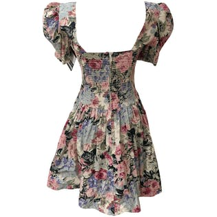 Floral Mini Dress with Shoulder Pads by Robbie Bee