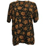 90's Silk Brown Floral Print Blouse
