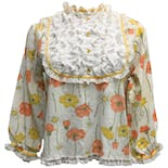 70's Lace Bib Front Floral Print Blouse by Her Majesty