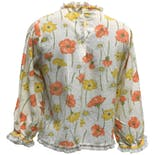 another view of 70's Lace Bib Front Floral Print Blouse