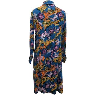 70's Blue and Multicolor Floral Print Collared Midi Dress
