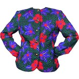 80's Bright Floral Print Button Up Jacket with Embroidery by Carlisle