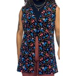 60's Black with Small Multicolor Floral Print Vest