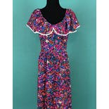 another view of Flower Ruffled Collar Lace Empire Waist Maxi Dress