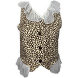 Frilled Hem Cheetah Print Denim Vest by Paris Blues