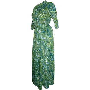 60's Green and Blue Swirl Three Piece Outfit