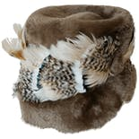 Fur Round Hat with Feather Trim Made in Italy by Duchess