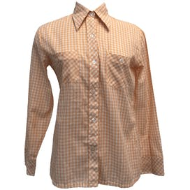 Orange Gingham Button Up Shirt by Excitation Inc.