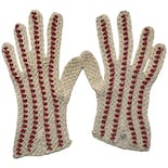 Mid-Century White and Red Crochet Gloves by Fallala