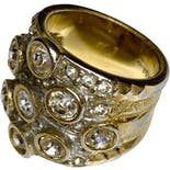 another view of Gold Cubic Zirconia Cluster Ring