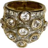 Gold Cubic Zirconia Cluster Ring