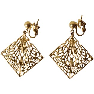 Gold Diamond Fan Clip On Earrings