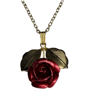 Gold Petite Rose Necklace by Sarah Coventry