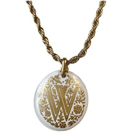 Gold and White W Initial Necklace