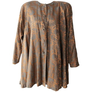 90's Rare Black Label Gold Green Floral Blouse Dress by Jessica McClintock