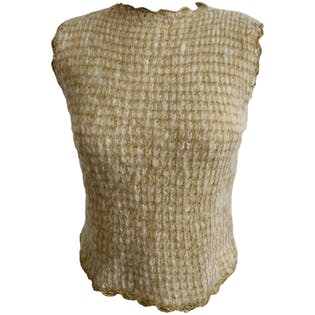 Gold Lurex Sleeveless Sweater Top
